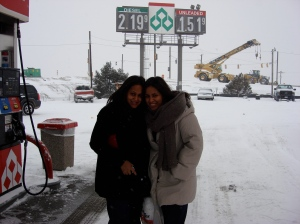 Shivani & Neha in the blizzard, stopping to get gas